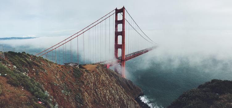 Fog Covering Golden Gate Bridge, San Francisco