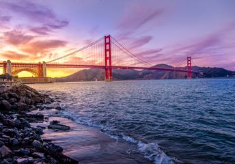 Panoramic View of Famous Golden Gate Bridge