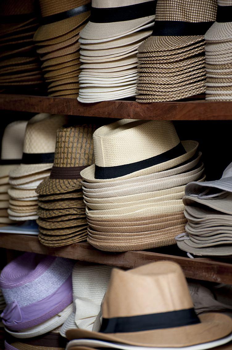 Shelves full of Panama Hats