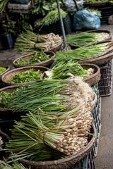 Spring Onions and Fresh Herbs on Market in Vietnam