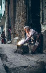 Portrait of Old Man Welding, taken in Old Havana