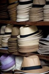 Shelves full of Panama Hats