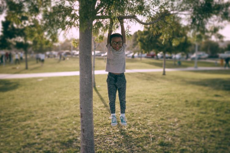 Little Boy Hanging on a Tree