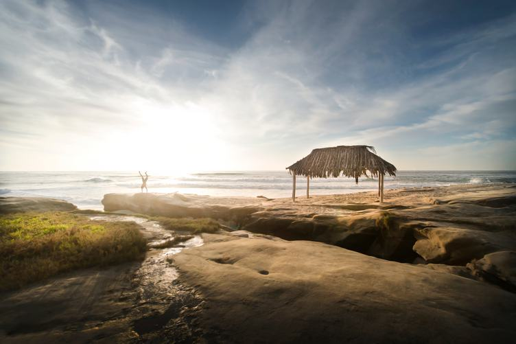 Hut with Thatched Roof on the Beach