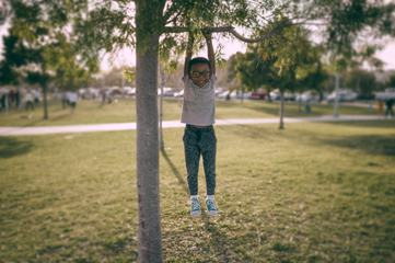 Little Boy Hanging on a Tree