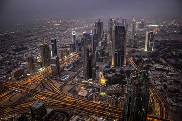 Aerial View of Dubai at Night, United Arab Emirates
