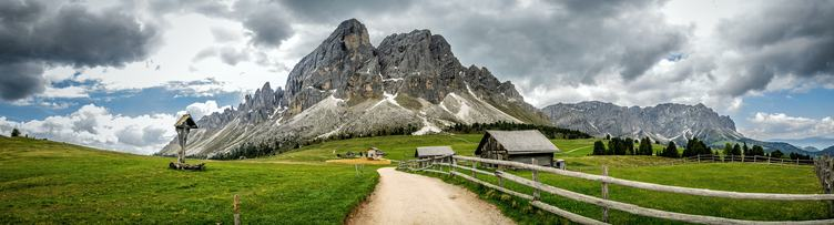Panoramic view of Passo delle Erbe, South Tyrol in Italy
