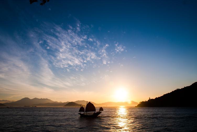 Sailing Boat at the Sunset, Sai Wan Swimming Shed, Hong Kong