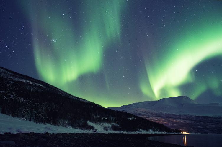 Aurora Green Polar Lights in Skibotn, Norway