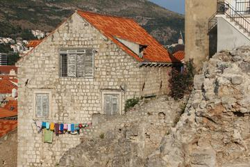 Old Building with Laundry Hanging on the Facade, Dubrovnik, Croatia