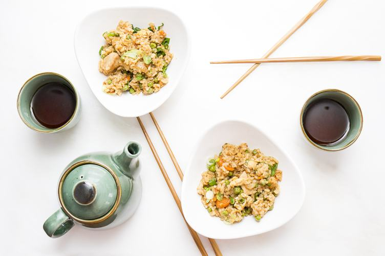 Chicken Fried Rice Served with Tea, Flatlay on White