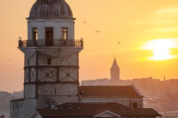 Sunset over Maiden's Tower Istanbul, Turkey