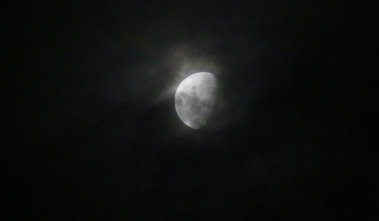 Moon on Cloudy Sky, Black and White