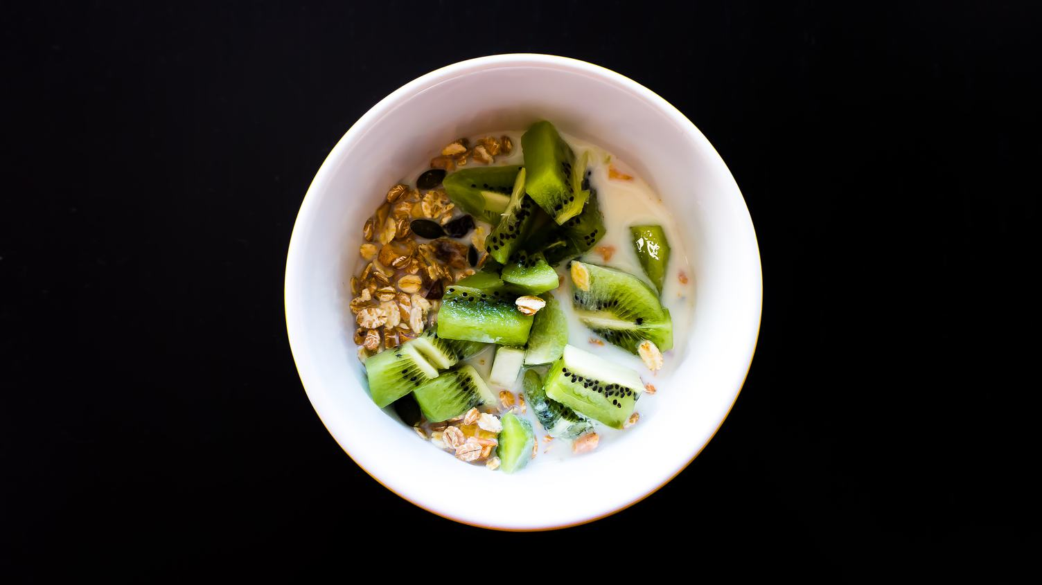 Breakfast with Oatmeal with Kiwi, Top View