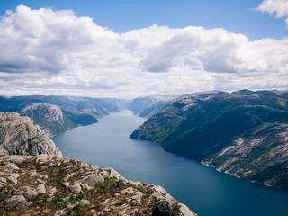 Preikestolen the Pulpit Rock at Lysefjord, Norway