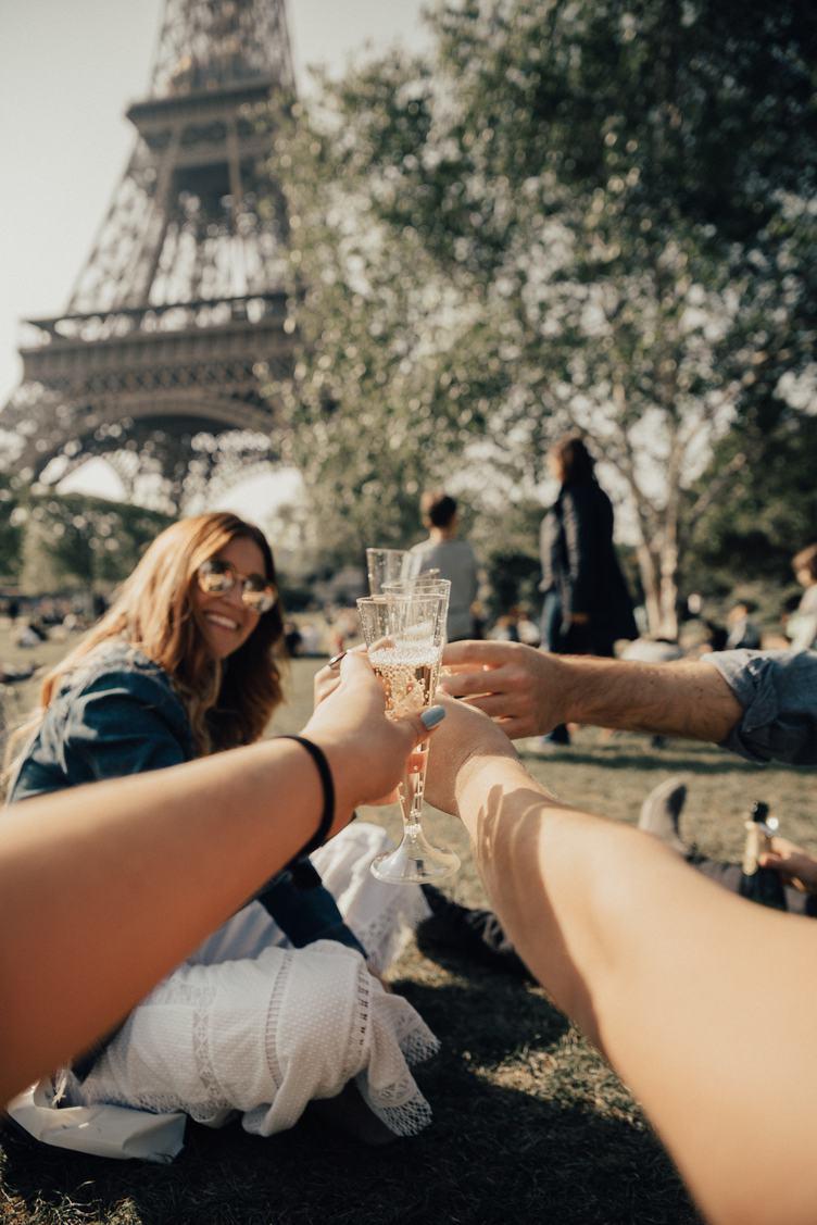 Friends Drink Champagne near Eiffel Tower