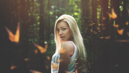Attractive Blonde in a Forest