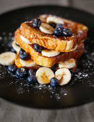 Traditional French Toasts with Bananas and Blueberries