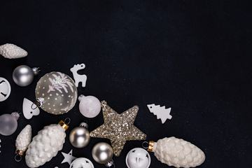White Christmas Decorations Flatlay with Black Background