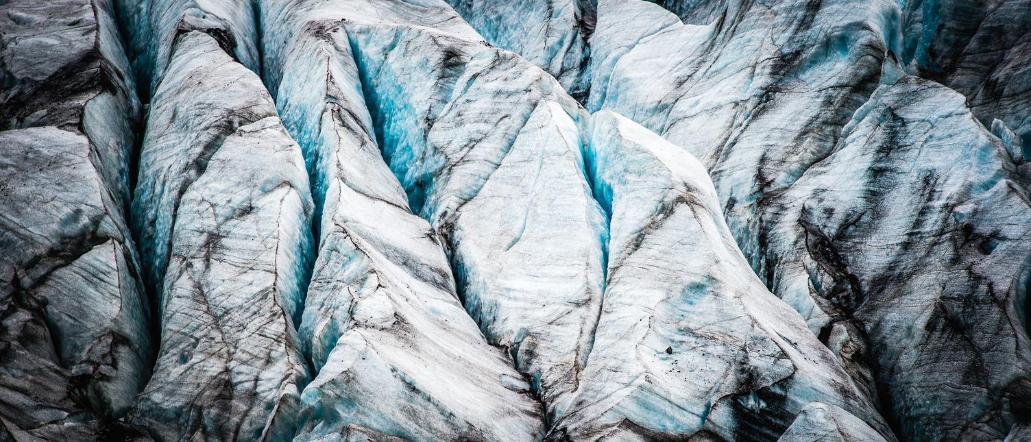 Closeup of Glacier with Dirty Snow