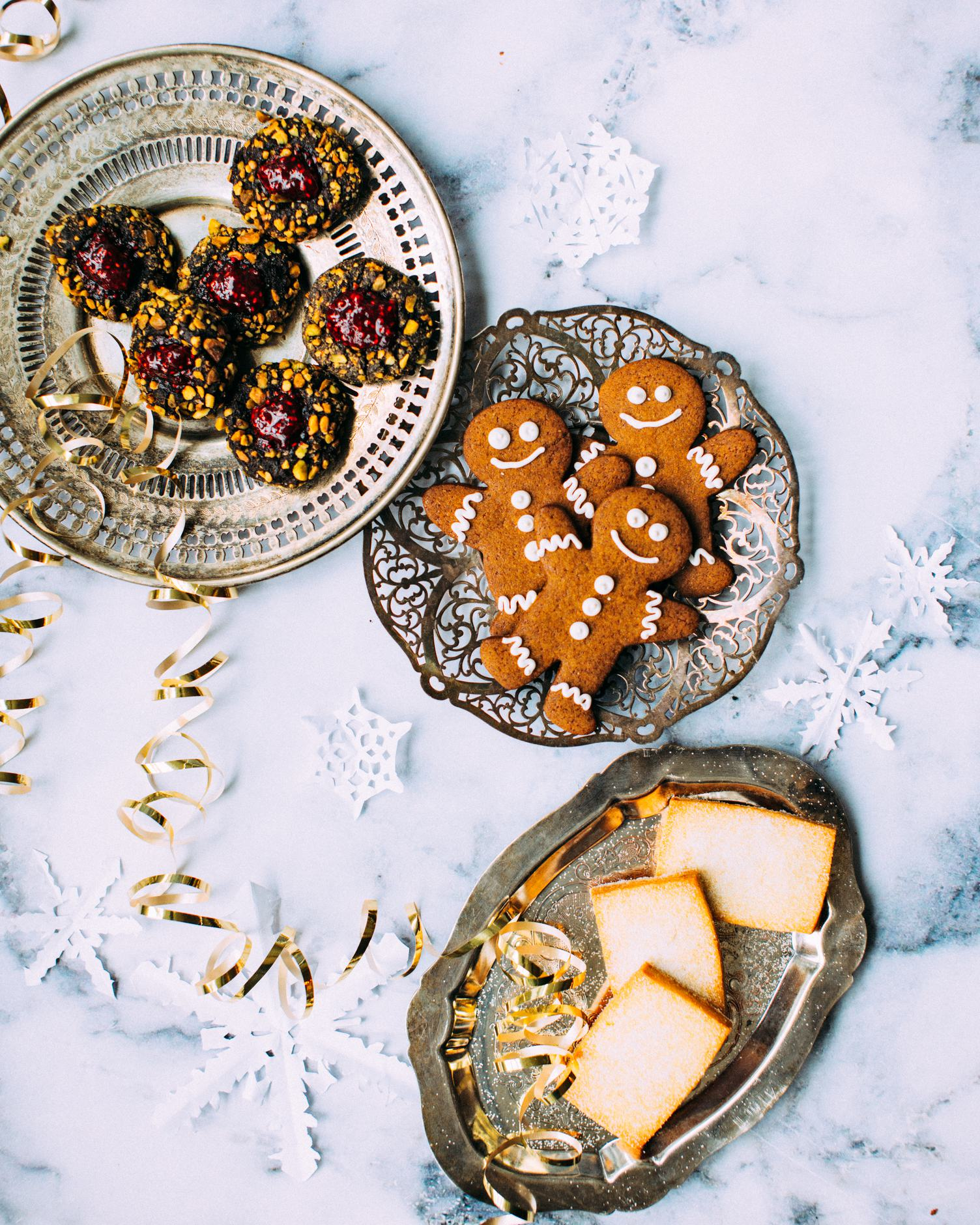 Christmas Cookies Flatlay on Marble