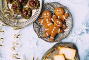 Christmas Cookies Flatlay on Marble