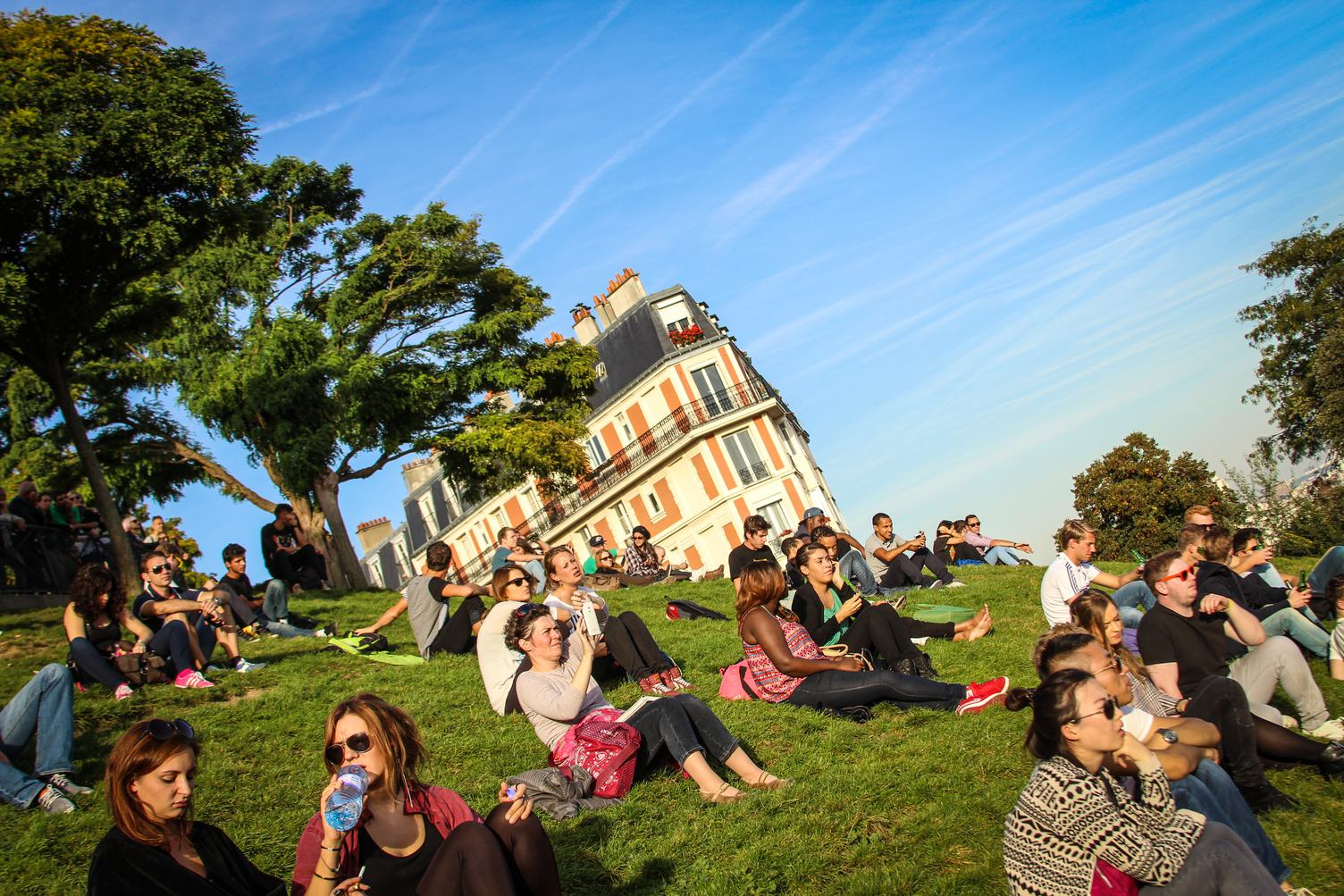 People Sitting on the Grass, Montmartre Hill, Paris
