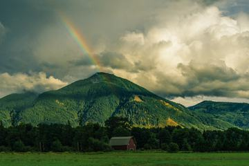 Landscape with Green Hills and Rainbow