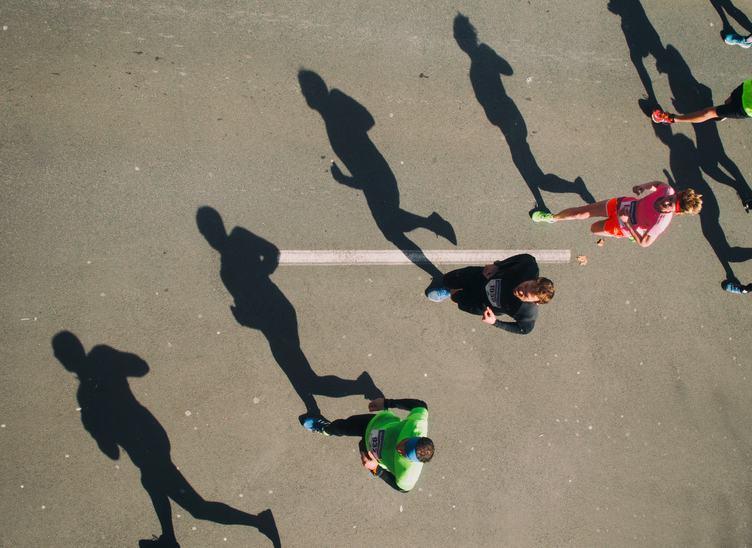 Marathon Runners and Their Shadows
