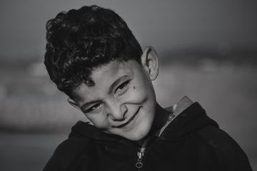 Black and White Portrait of a Boy