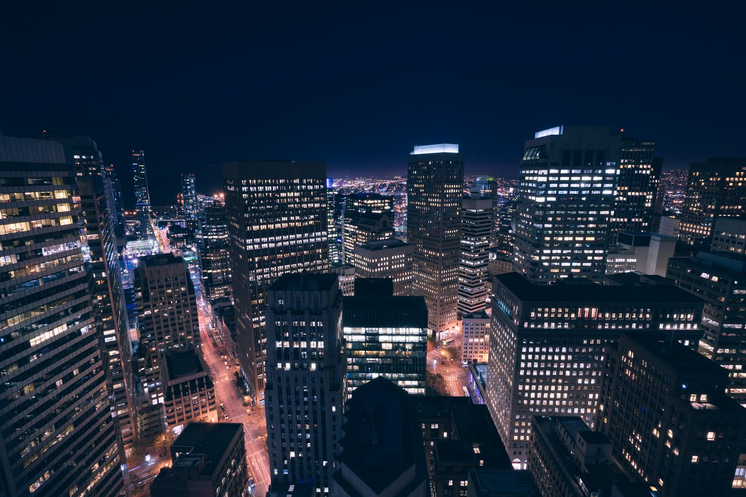 Skyscrapers in San Francisco at Night