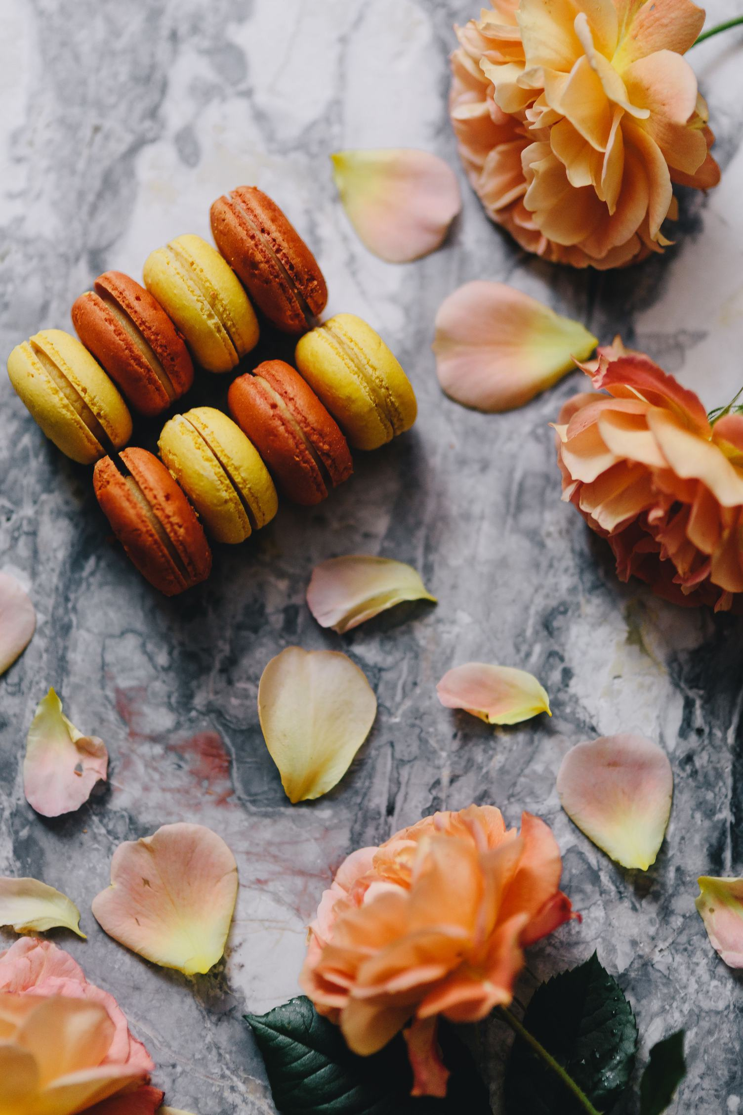 Orange and Yellow Macarons with Roses