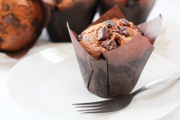 Brown Muffins with Chunks of Chocolate