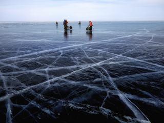 People on Frozen Lake Baikal