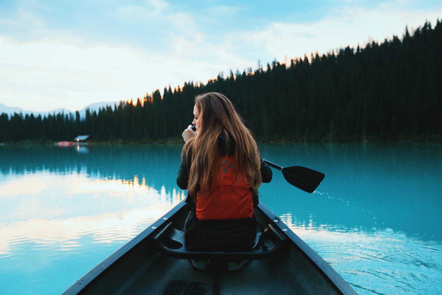 Woman in a Canoe, Lake Louise, Canada
