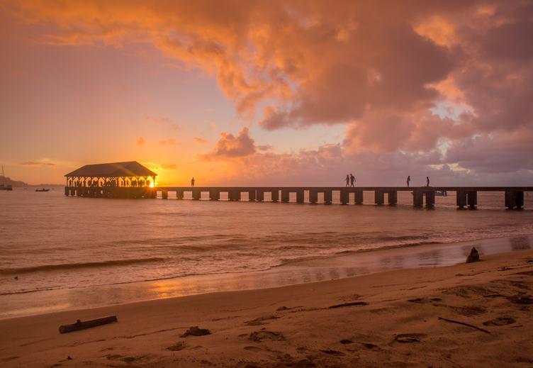 Pier at Sunset, Hanalei Bay, Kauai Island, Hawaii