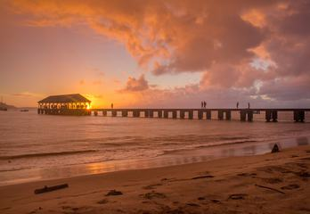 Pier at Sunset, Hanalei Bay, Kauai Island, Hawaii