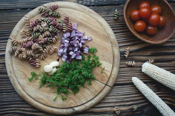 Fusilli Pasta Ingredients Prepared for Cooking