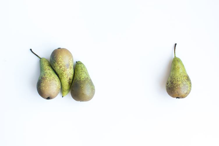 Four Pears on a White Background