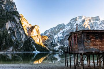 Boathouse at Pragser Wildsee, South Tyrol, Italy