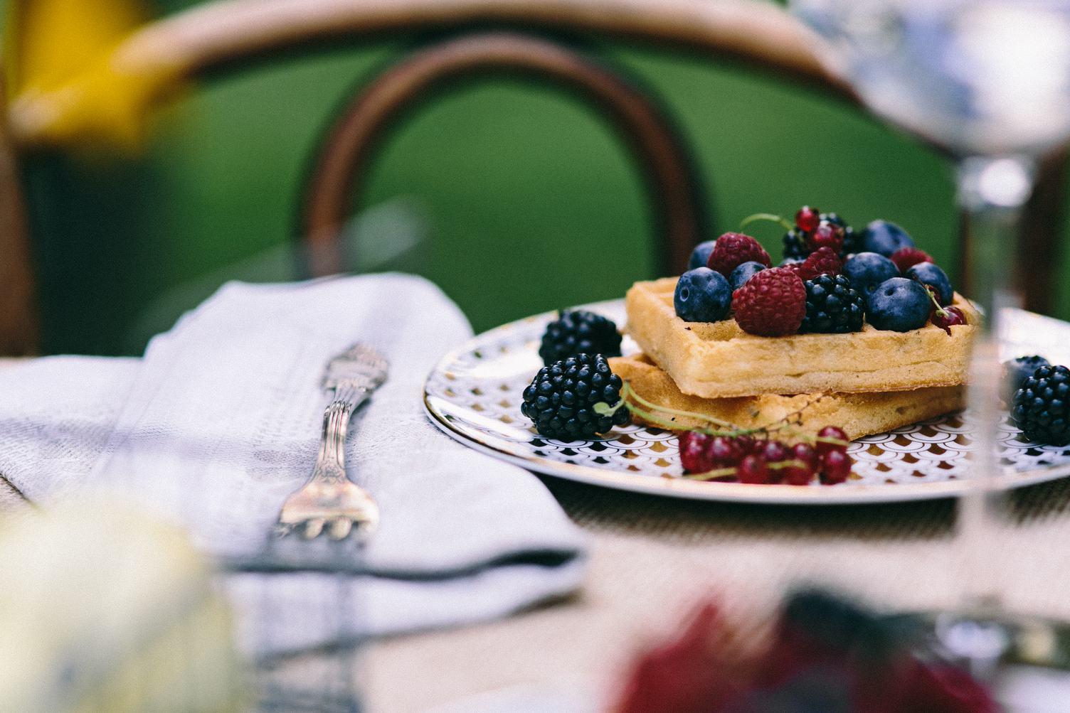 Sweet Breakfast, Belgian Waffles with Fresh Fruits