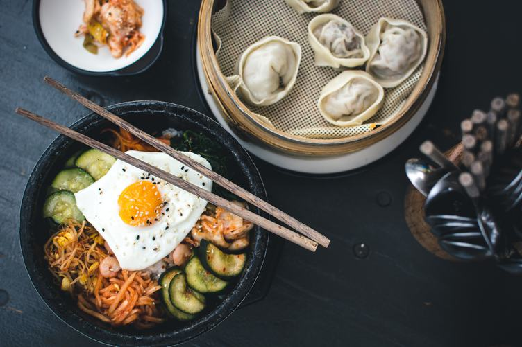 Korean Bibimbap and Dumplings