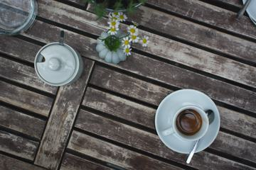 Cup of Espresso on a Wooden Table