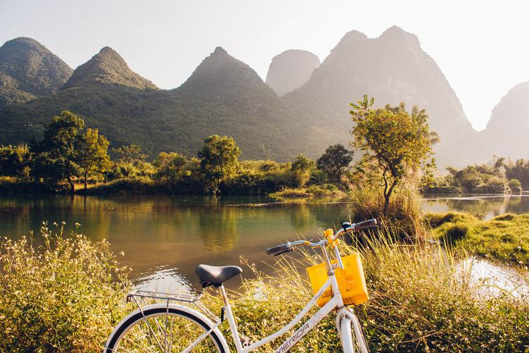 Bicycle on the River, Yangshuo, Guilin, China