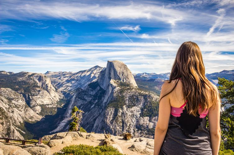 Young Brunette Looking at Half Dome, Yosemite Valley