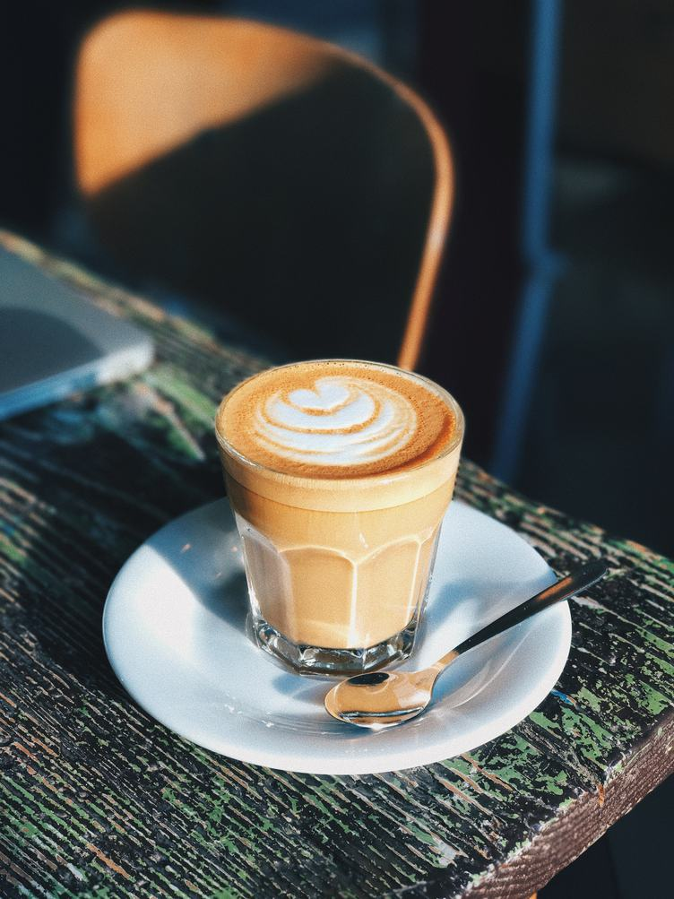 Coffee Latte in a Glass, Outdoors