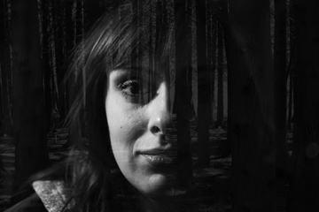 Black and White Double Exposure Female Portrait