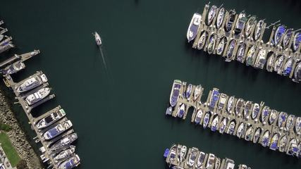 Top View of Boats in Marina
