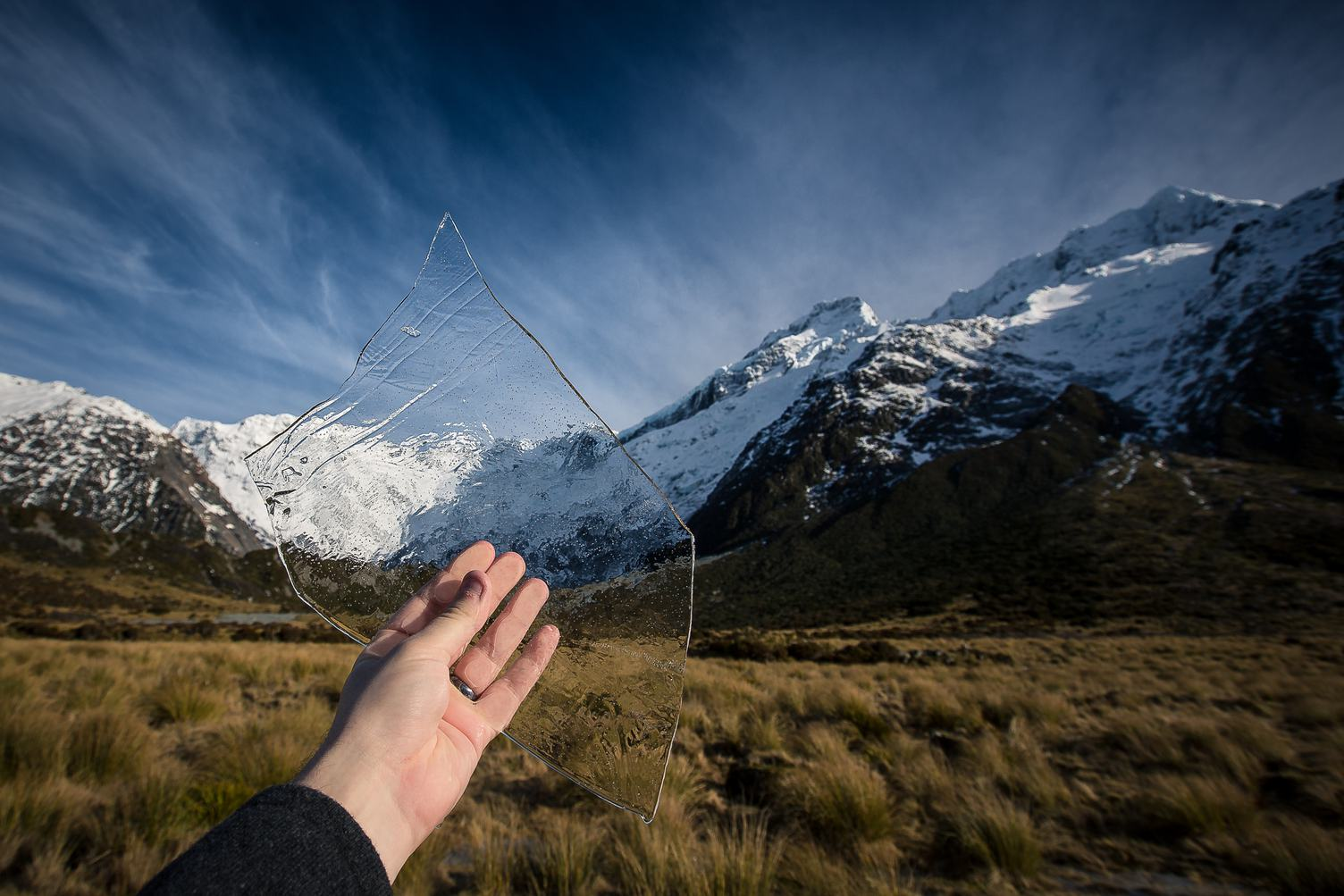 Ice in a Hand, Hooker Valley in New Zealand