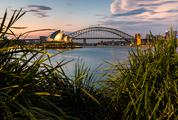 Sydney Harbour with Opera House and Bridge in the Evening
